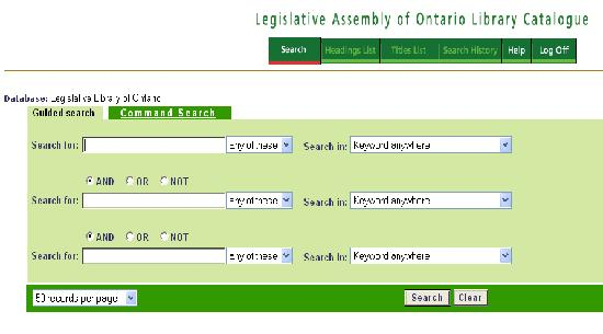 Excerpt of Ontario Legislative Library catalogue guided search screen